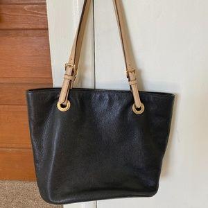 Michael Kors Tote Bag Black w/ Tan Straps
